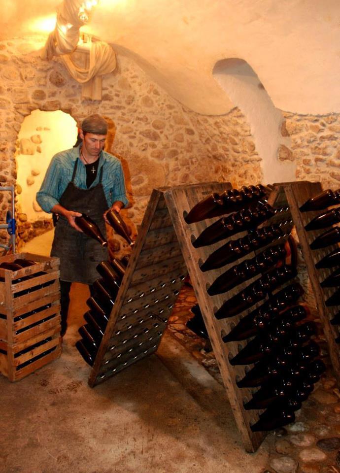 Unser Champagner, der Champus No1, wird in die Rüttelpelle eingesetzt.